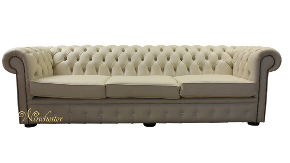 Chesterfield Swarovski CRYSTALLIZED™ Diamond 4 Seater Leather Sofa Cream Leather Offer