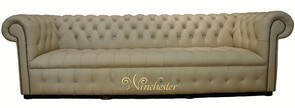 Chesterfield Swarovski CRYSTALLIZED™ Diamond 4 Seater Leather Sofa Ivory Leather