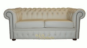 Chesterfield 2 Seater Swarovski CRYSTALLIZED™ Diamond Leather Cream Sofa Offer