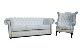 Chesterfield 3+1 Swarovski CRYSTALLIZED™ Diamond White Leather Sofa Offer