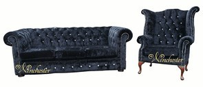 Chesterfield Swarovski CRYSTALLIZED™ Diamond 3 Seater+Wing Chair Velvet Sofa Offer