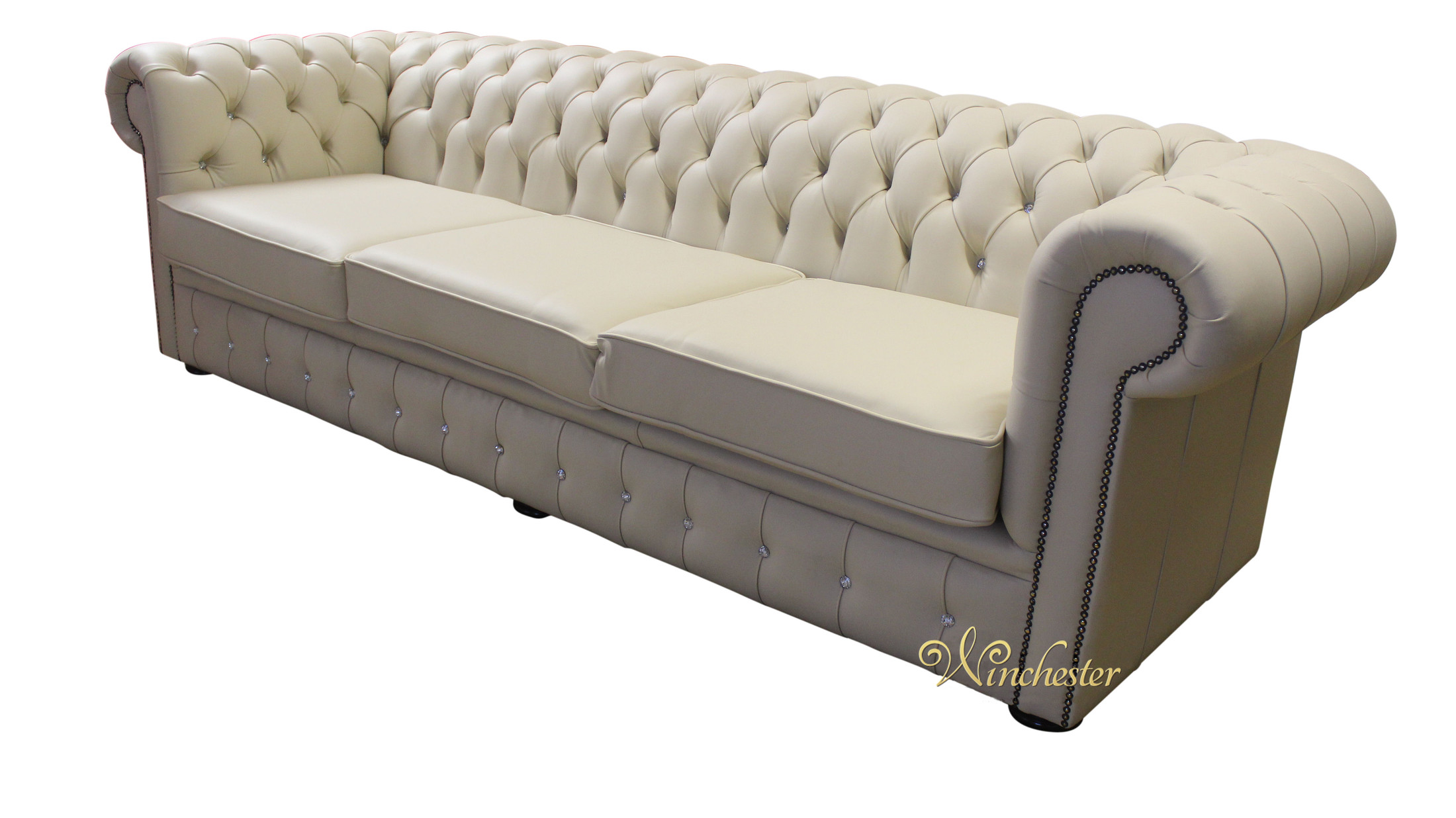... Chesterfield Swarovski Crystal Leather 4 Seater Diamante Sofa