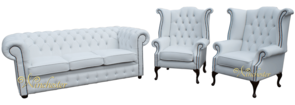 Chesterfield 3+1+1 Swarovski CRYSTALLIZED™ Diamond White Leather Sofa Offer