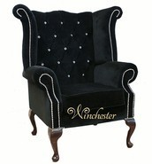 Chesterfield Swarovski Queen Anne High Back Wing Chair Boutique Black Velvet