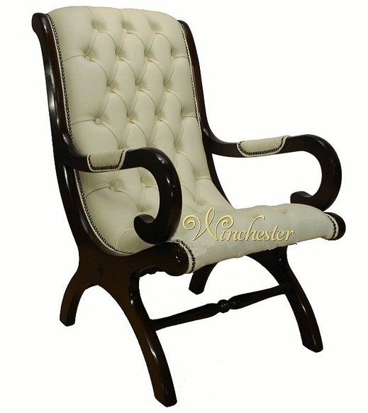 Chesterfield York Slipper Chair Cream Leather Leather