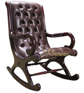 Chesterfield York Slipper Rocking Chair Old English Smoke Leather