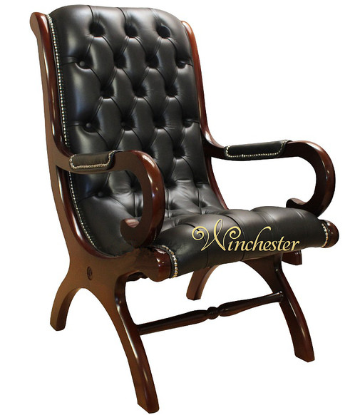 Chesterfield York Slipper Chair Black Leather