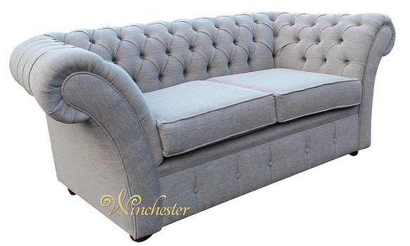 Chesterfield Drummond 2 Seater Sofa Settee Verity Plain Silver