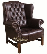 Chesterfield Hamilton High Back Wing Chair UK Manufactured Hand Dyed Dark Brown Leather