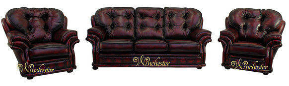 Chesterfield Knightsbridge 3+1+1 Seater Settee Traditional Sofa Suite Antique Oxblood