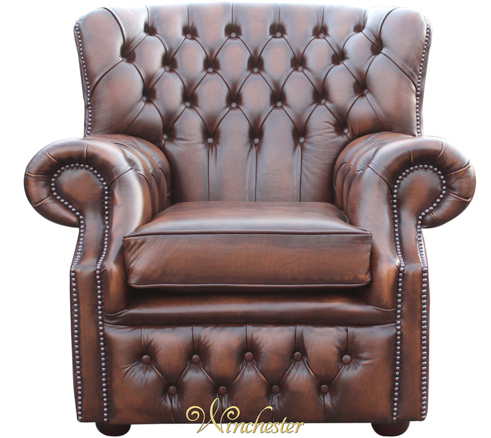 Monks High Back Club Chair Antique Brown Leather Wc