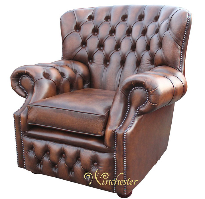 chesterfield monks high back wing chair antique brown uk manufactured armchair traditional sofas. Black Bedroom Furniture Sets. Home Design Ideas