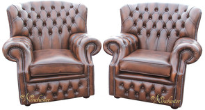Pair Chesterfield Monks High Back Wing Chair UK Manufactured Armchair Antique Brown Leather