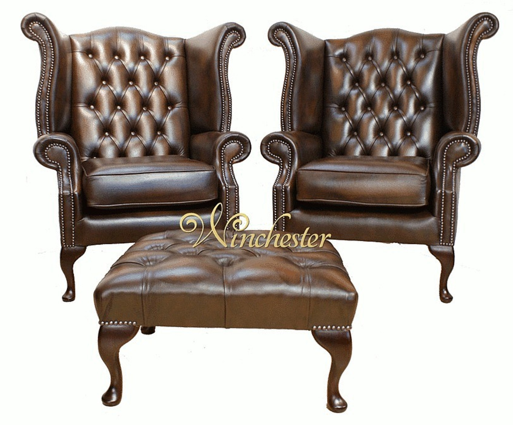 Pair Chesterfield Queen Anne Wing Chair Wc