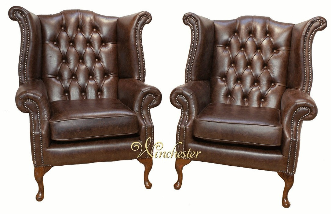 Pair Of Chesterfield High Back Queen Anne Wing Chairs Oil Pull Up Brown Leather Wc