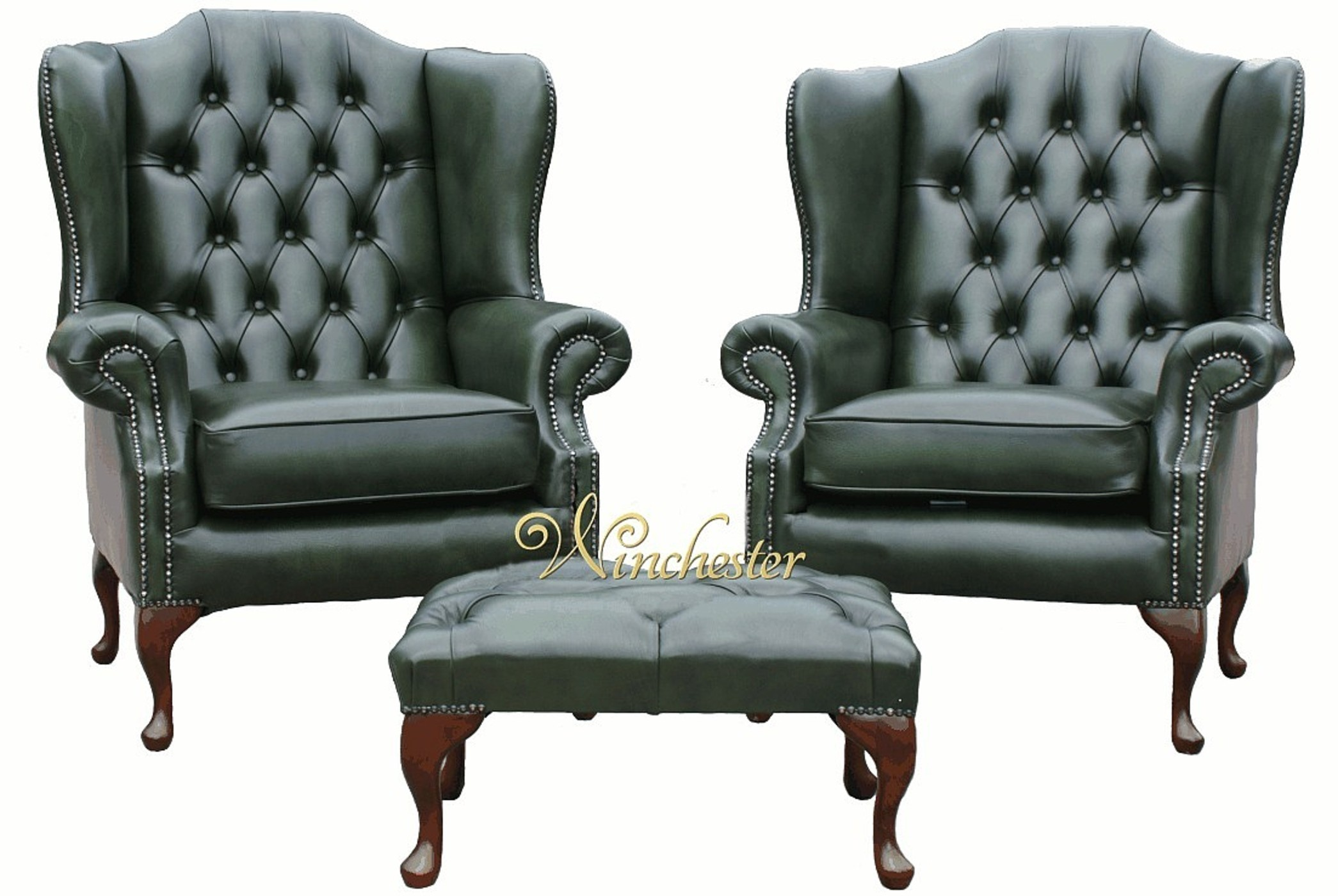 Superb Pair Of Chesterfield Mallory Flat Wing Armchairs Footstool Wc