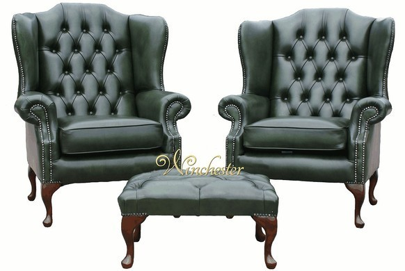 Chesterfield Offer Pair Mallory High Back Wing Chair Footstool Antique Green Leather