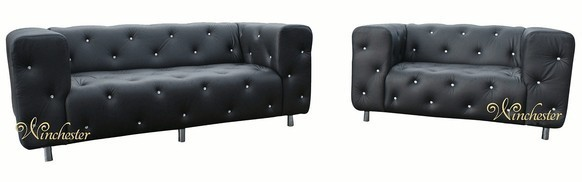 Designer Sparks Black 3+2 Seater Suite Swarovski Leather Sofa