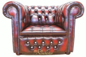 Chesterfield CRYSTALLIZED™ - Swarovski Elements Low Back ArmChair Oxblood Leather