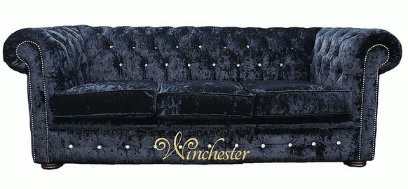 Chesterfield Swarovski CRYSTALLIZED™ Diamond 3 Seater Black Velvet Sofa Offer