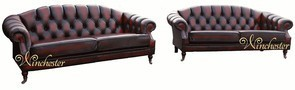 Victoria 3+3 Seater Chesterfield Leather Sofa Settee Antique Oxblood Leather