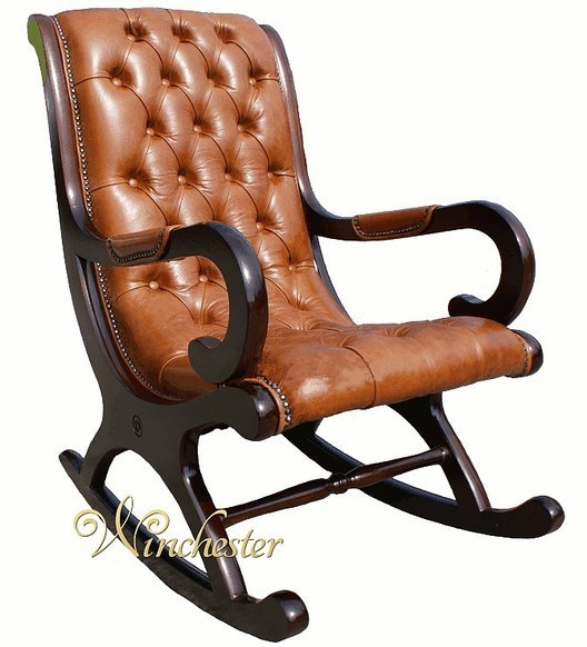 Chesterfield York Slipper Rocking Chair Old English Bruciato Leather