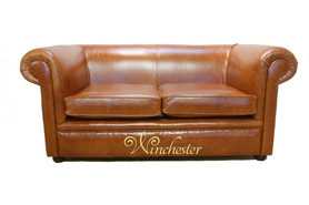 Chesterfield 1930 2 Seater Settee Old English Bruciatto Leather Sofa