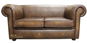 Chesterfield 1930's 2 Seater Sofa Bed Antique Gold Leather