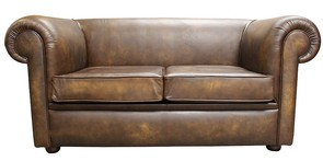 Chesterfield 1930's 2 Seater Settee Sofabed Antique Gold Leather