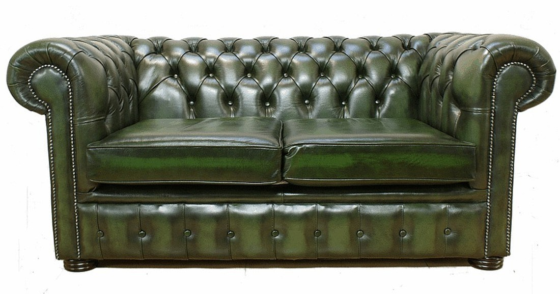 chesterfield 2 seater antique green leather sofa offer. Black Bedroom Furniture Sets. Home Design Ideas