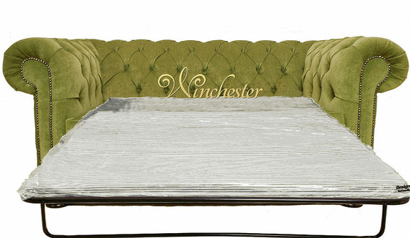 Chesterfield 2 Seater Settee Sofa Bed Sage Green Fabric