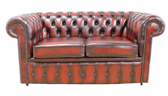 Chesterfield 2 Seater Oxblood Leather Sofa Offer