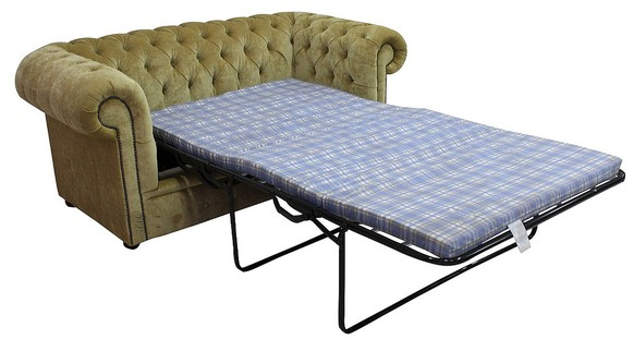 Chesterfield 2 Seater Settee Sofa Bed Velluto Gold Fabric