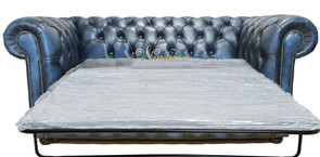 Chesterfield 2 Seater Sofa Settee Bed Antique Blue