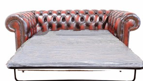 Chesterfield 2 Seater Sofa Bed Antique Oxblood
