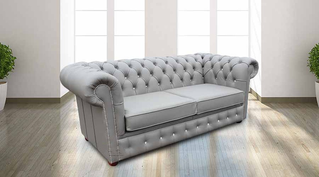 Grey Leather Chesterfield Sofa Bed With Crystal Buttons