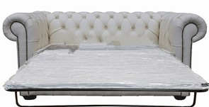 Chesterfield 2 Seater Sofa Bed White Leather