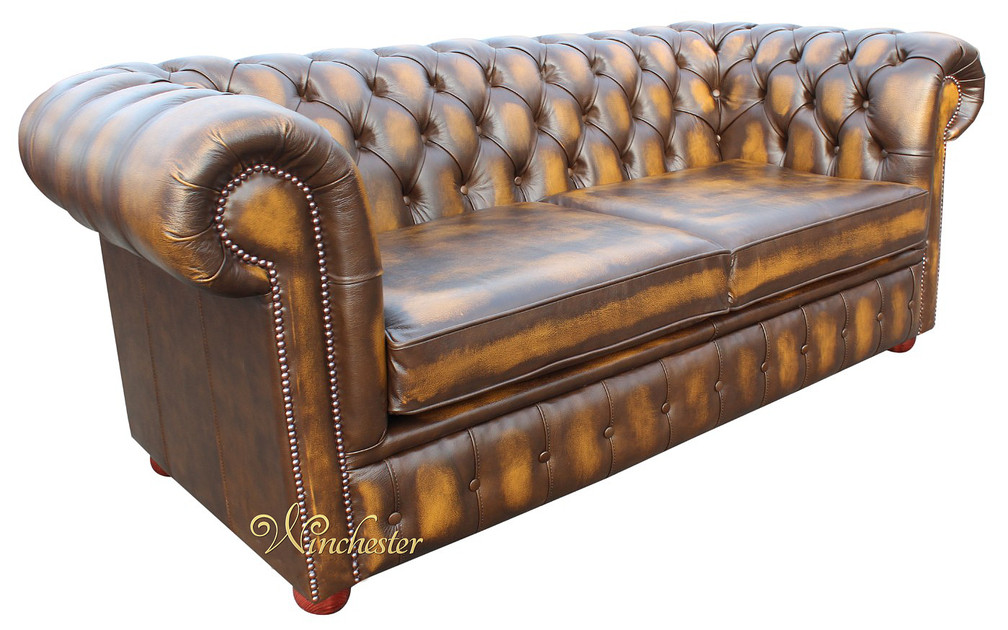 chesterfield 2 seater sofa bed antique gold leather. Black Bedroom Furniture Sets. Home Design Ideas
