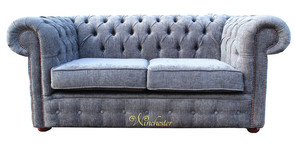 Chesterfield 2 Seater Settee Sofa Bed Flamenco Crush Slate Fabric