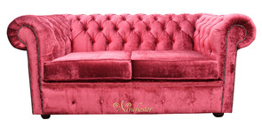 Chesterfield 2 Seater Settee Sofa Bed Elegance Ruby Red Velvet Fabric