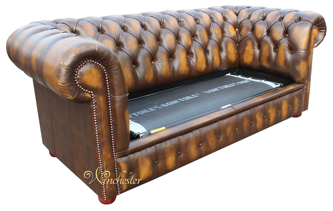 2 Seater Sofa Bed Antique Gold Leather