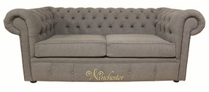 Chesterfield 2 Seater Settee Sofa Bed Verity Plain Steel Fabric