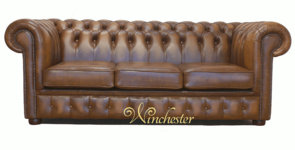 Chesterfield 3 Seater Birch Antique Gold Leather Sofa Offer