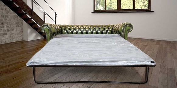Chesterfield 3 Seater Settee Sofa Bed Antique Green
