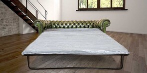 Chesterfield 3 Seater Antique Green Leather SofaBed Offer