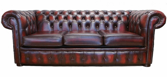Chesterfield 3 Seater Antique Oxblood Leather Sofa Offer