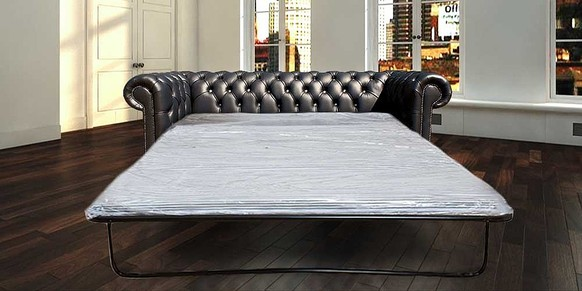 Chesterfield 3 Seater CRYSTALLIZED™ Diamond Black Leather SofaBed Offer