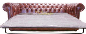 Chesterfield 3 Seater Sofa Bed Old English Chesnut