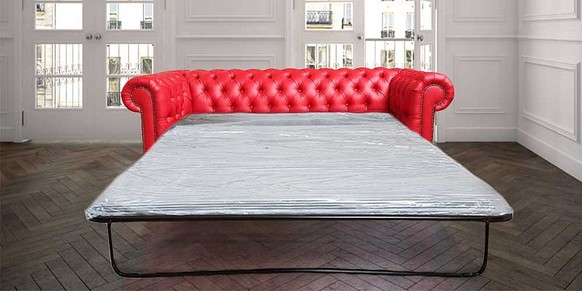 Chesterfield 3 Seater Red Faux Leather SofaBed Offer