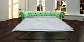 Chesterfield 3 Seater Settee Apple Green Leather SofaBed Offer